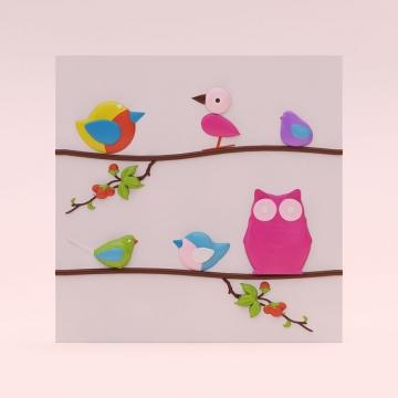 3d панели Пташки на ветке - пример раскрашивания