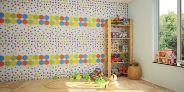 Детские декоративные панели Точки - вариант оформления