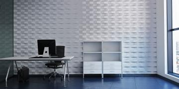 Гипсовая панель Ступенчатый кирпич в офисе