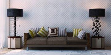 Гипсовые 3д панели Кожа мелкая - фото в интерьере