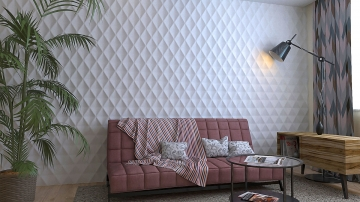 Экопанели Ромб объёмный в интерьере комнаты