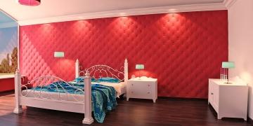 3d панели для стен Кожа капитоне - пример оформления спальни