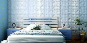 Белые стеновые панели Шашки в спальне