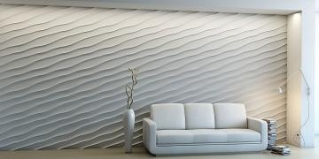 3d панели Волна диагональная крупная - фото в интерьере