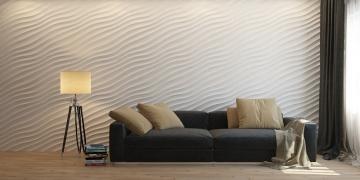 3d панели Волна диагональная мелкая в интерьере