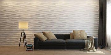 Стеновые панели Волна горизонтальная крупная в интерьере